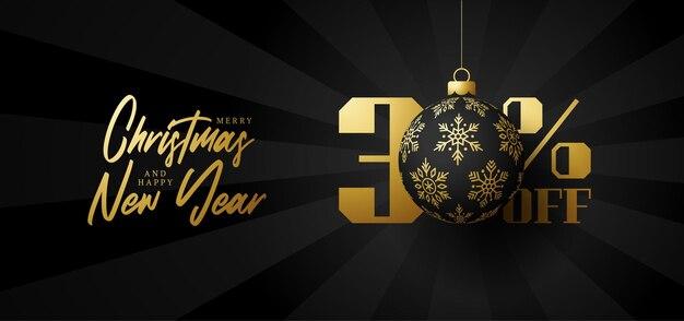 Bandeira de grande venda de feliz natal. venda de natal de luxo com 30% de desconto no modelo de banner real preto com uma bola dourada decorada pendurada em um fio. feliz ano novo e ilustração vetorial de natal
