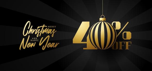 Bandeira de grande venda de feliz natal. venda de natal de luxo com 40% de desconto no modelo de banner real preto com uma bola dourada decorada pendurada em um fio. feliz ano novo e ilustração vetorial de natal