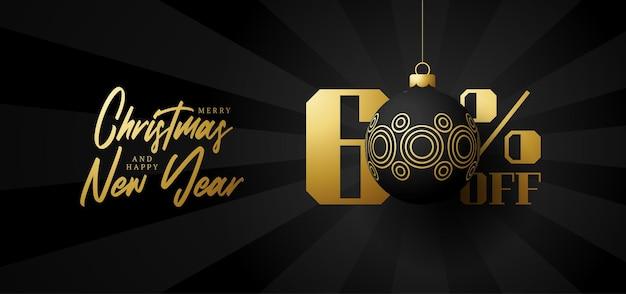 Bandeira de grande venda de feliz natal. venda de natal de luxo com 60% de desconto no modelo de banner real preto com uma bola dourada decorada pendurada em um fio. feliz ano novo e ilustração vetorial de natal