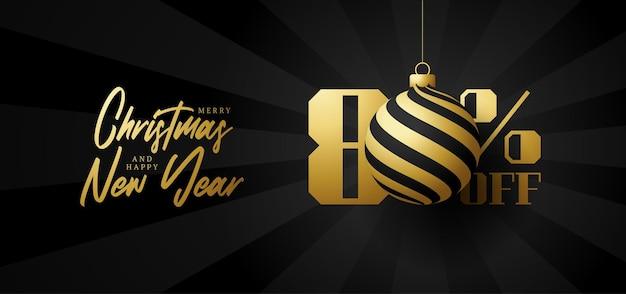 Bandeira de grande venda de feliz natal. venda de natal de luxo com 80% de desconto no modelo de banner real preto com bola dourada decorada pendurada em um fio. feliz ano novo e ilustração vetorial de natal
