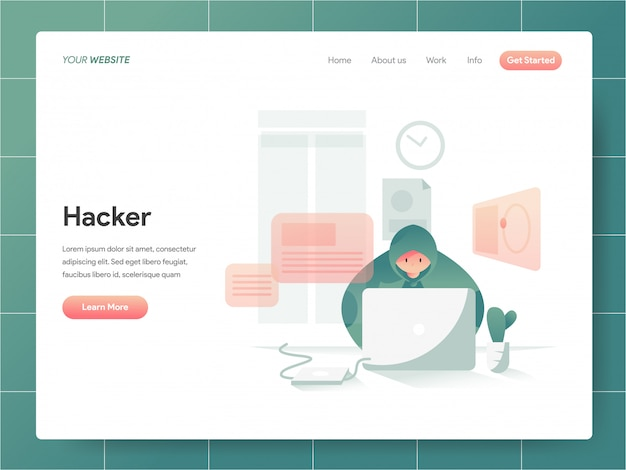 Bandeira de hacker do conceito de página de destino