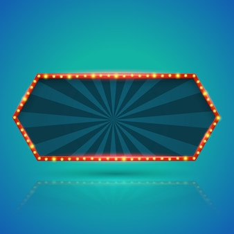 Bandeira de hexágono de luz retrô abstrata