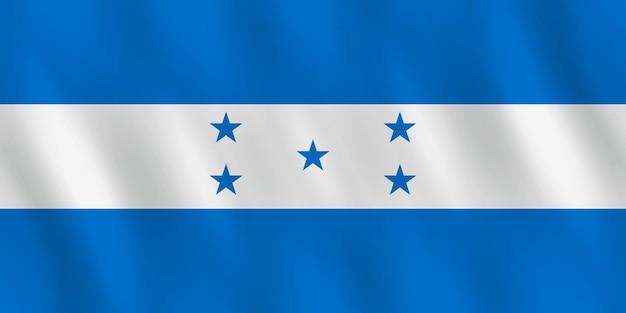 Bandeira de honduras com efeito de ondulação, proporção oficial.