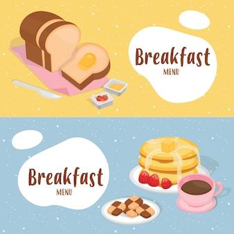 Bandeira de ilustração bonito café da manhã