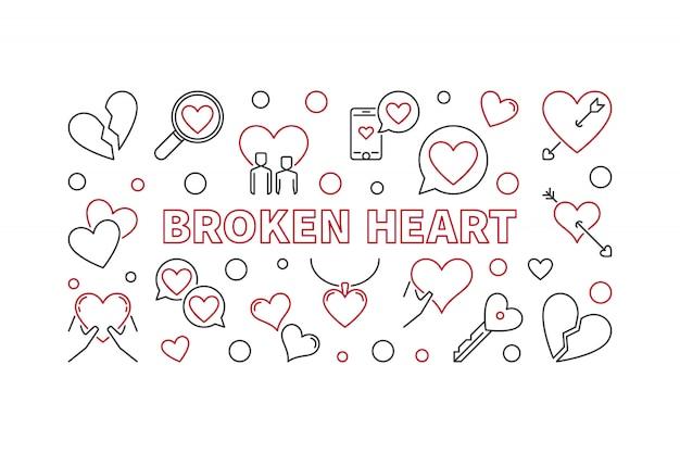 Bandeira de ilustração de contorno de coração partido