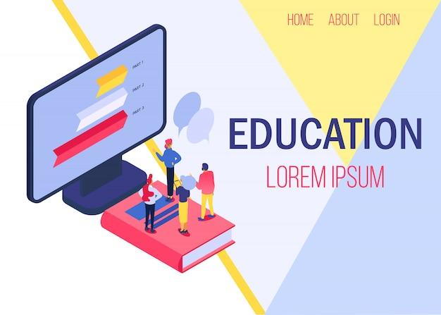 Bandeira de ilustração on-line de educação. estudando pessoas, conhecimentos de computador. aprendendo com livros e online.