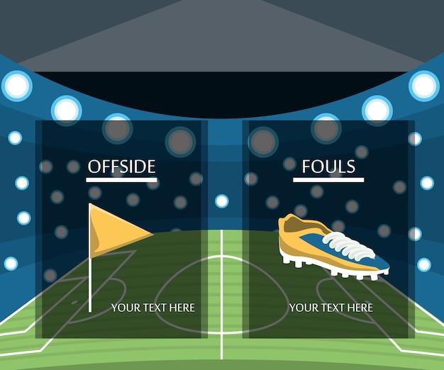 Bandeira de impedimento e bota de futebol