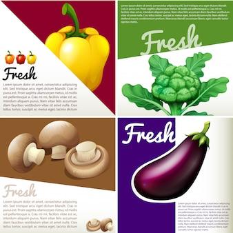 Bandeira de infográfico com legumes frescos