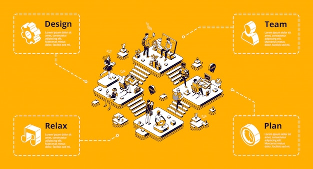 Bandeira de infográfico de organização de negócios