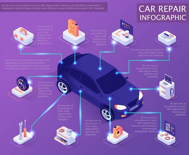 Bandeira de infográfico de serviço de reparação de automóveis