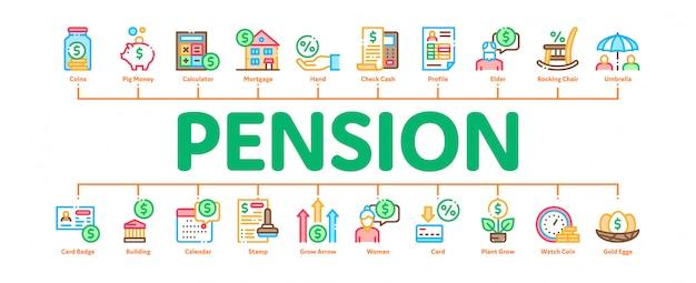 Bandeira de infográfico mínima de aposentadoria de pensão