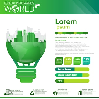 Bandeira de infográficos de ecologia de energia verde de proteção ambiental com cópia espaço