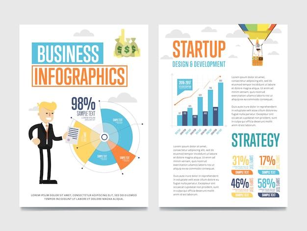 Bandeira de infográficos de negócios conjunto com gráfico