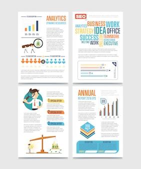 Bandeira de infográficos de negócios conjunto com gráficos