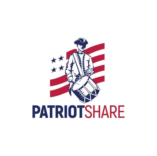 Bandeira de inspiração do logotipo da patriot, vetor da américa