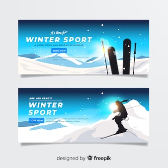 Bandeira de inverno de esqui sol
