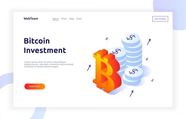 Bandeira de investimento de bitcoin isométrica