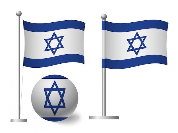 Bandeira de israel no ícone de vara e bola