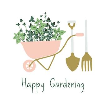 Bandeira de jardinagem desenhada de mão.