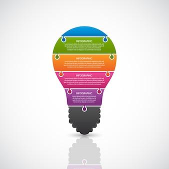 Bandeira de lâmpada abstrata infográfico.