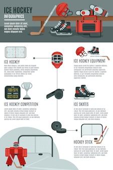 Bandeira de layout de infográfico de hóquei no gelo