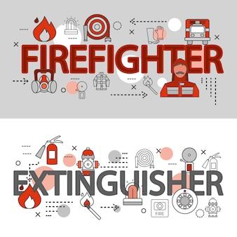 Bandeira de linha dois corpo de bombeiros horizontal definida com bombeiro uma ilustração em vetor descrições extintor