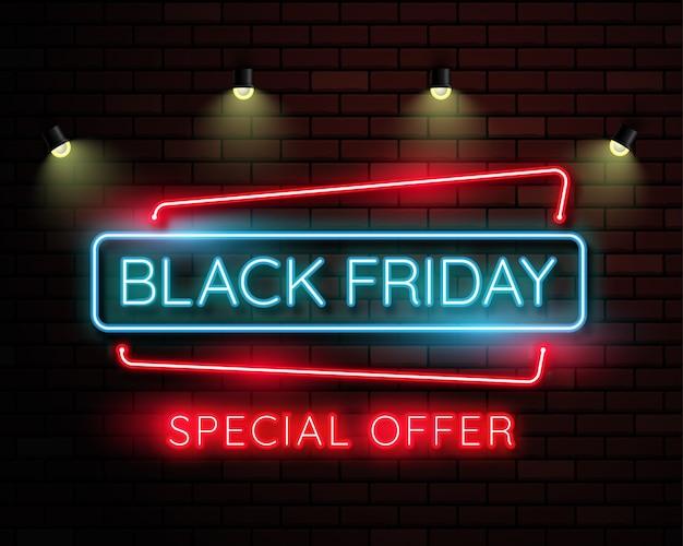 Bandeira de luz negra néon sexta-feira