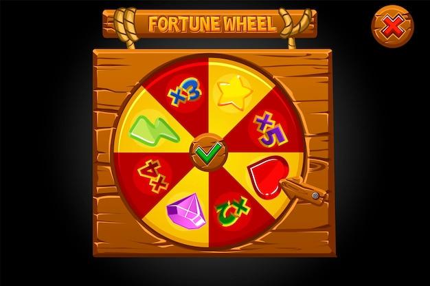 Bandeira de madeira girar a roda da fortuna.