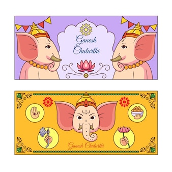 Bandeira de mão desenhada ganesh chaturthi