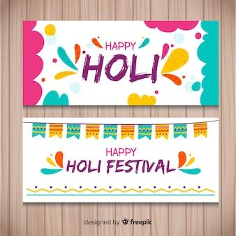 Bandeira de mão desenhada holi festival