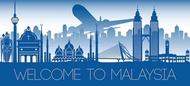 Bandeira de marco famoso da malásia