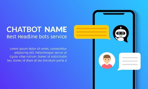 Bandeira de marketing de serviço de vetor plana de chatbot telefonema. aplicativo de smartphone com suporte para bot de bate-papo