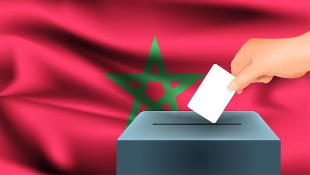 Bandeira de marrocos, votação de mão masculina com fundo de ideia de conceito de bandeira de marrocos