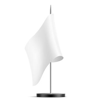 Bandeira de mesa realista para promoção corporativa e identidade de escritório