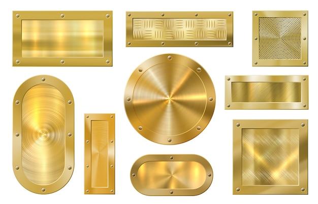 Bandeira de metal dourado. placa dourada, banners dourados com textura metálica e moldura premium.