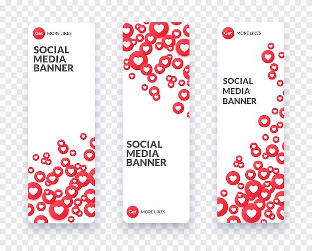 Bandeira de mídia social coração vertical definida para streaming, bate-papo e videochat. como ícone símbolo e coração e banner em estilo simples, com sombra. ilustração.