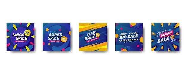 Bandeira de mídia social quadrada de promoção de venda de oferta especial. super venda, mega venda, grande venda, venda relâmpago com padrão moderno de fundo azul