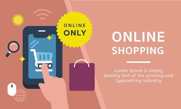 Bandeira de modelo de ícone de compras on-line