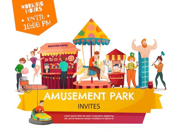 Bandeira de modelo de parque de diversões