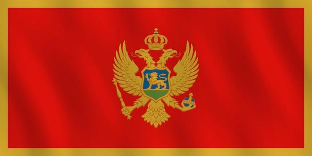 Bandeira de montenegro com ondulação do efeito, proporção oficial.