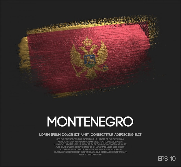 Bandeira de montenegro feita de glitter sparkle brush paint