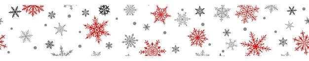 Bandeira de natal de flocos de neve grandes e pequenos complexos em cores vermelhas e cinza sobre fundo branco