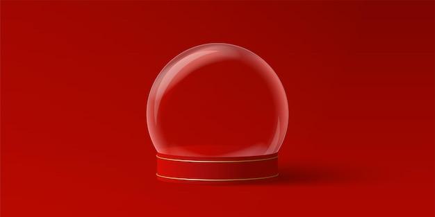 Bandeira de natal do globo de natal vazio em fundo vermelho para publicidade de produto
