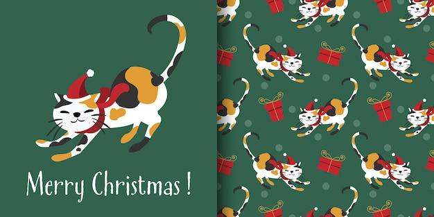 Bandeira de natal e padrão sem emenda de gato fofo com chapéu de papai noel e lenço vermelho