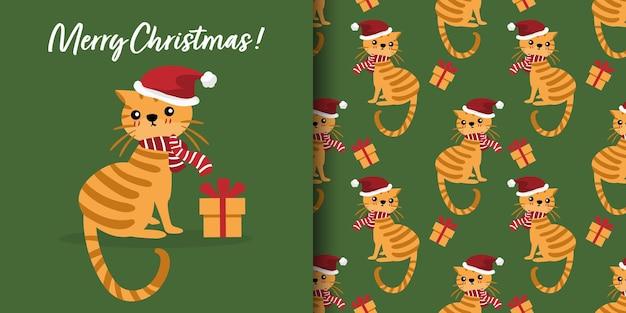 Bandeira de natal e padrão sem emenda de gato fofo com chapéu de papai noel, lenço vermelho e caixa de presente