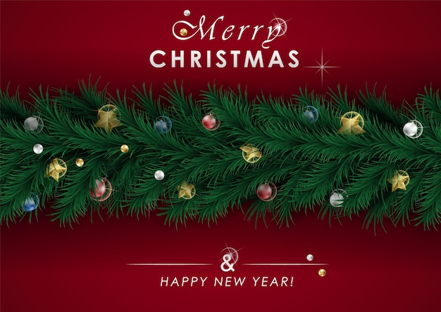 Bandeira de natal, guirlanda de luzes cintilantes de natal. recorte estrelas de folha de ouro e flocos de neve prateados.