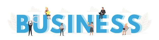 Bandeira de negócios da palavra grande para o conceito de design. cartaz de economia e economia de dinheiro.
