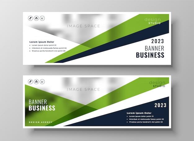 Bandeira de negócios geométrica verde elegante