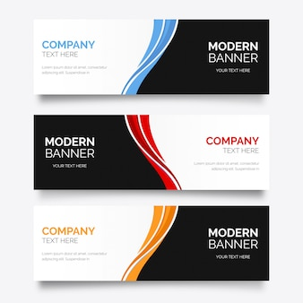 Bandeira de negócios modernos com ondas