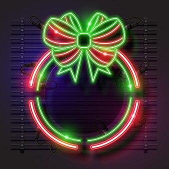 Bandeira de néon de natal arredondada